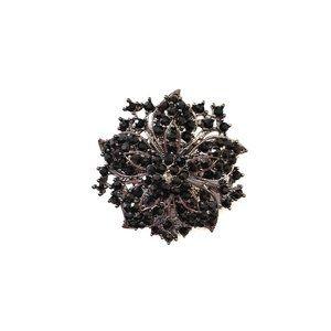 Jewelry - Black Crystal Rhinestones Flower Brooch